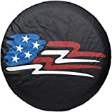 "Spare Tire Cover 15 inch, Tires Wheel Cover Black for RV Trailer Camper Motorhome Jeep Wrangler Honda Toyota BMW, 14"" 15"" 16"" 17"", PVC Leather (15"" for Tire Diameter 27""-29"")"
