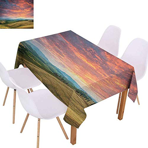 Marilec Elegance Engineered Tablecloth Tuscany Tuscany Italy Cypress Trees and Fields Crop Cloudy Sky Holiday Destination Soft and Smooth Surface W70 xL102 Vermilion Khaki