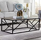 """Cheap Homissue 44"""" Industrial Style Coffee Table, Rectangular Cocktail Table with Sturdy Metal Base for Living Room, Retro Brown Finish"""