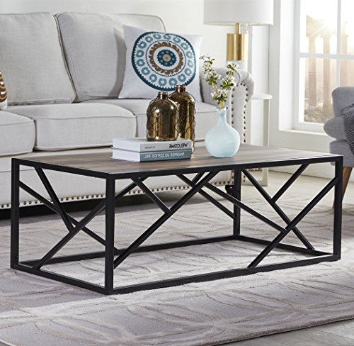 "Homissue 44"" Industrial Style Coffee Table, Rectangular Cocktail Table with Sturdy Metal Base for Living Room, Retro Brown Finish -"