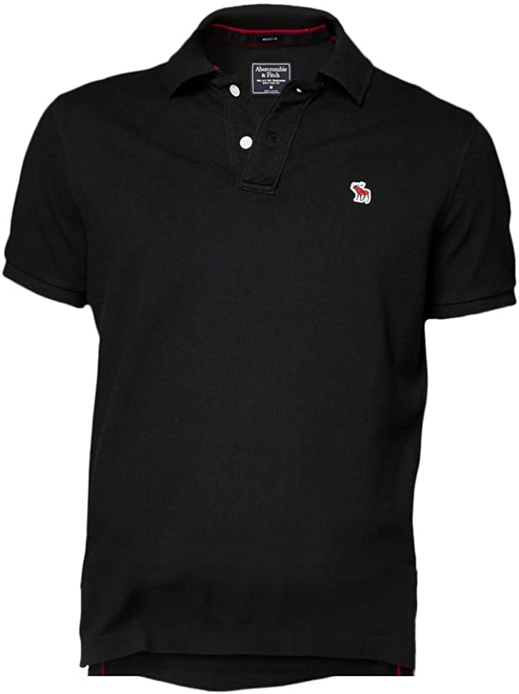 Abercrombie hombre Nuevo icono Muscle Fit Polo Shirt Tee Negro ...
