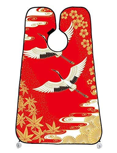 Custom Japanese Cherry Blossom White Cranes Gold Maple Leaves Beard Shave Apron Beard Hair Clippings Catcher Grooming Cape Apron 47x30 - Leaf Gold Cranes
