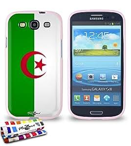 Carcasa Flexible Ultra-Slim SAMSUNG GALAXY S3 / I9300 de exclusivo motivo [Bandera Argelia] [Rosa] de MUZZANO  + ESTILETE y PAÑO MUZZANO REGALADOS - La Protección Antigolpes ULTIMA, ELEGANTE Y DURADERA para su SAMSUNG GALAXY S3 / I9300