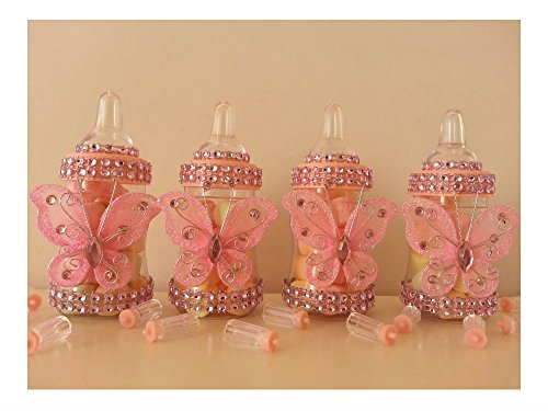 12 Pink Fillable Butterfly Bottles Baby Shower Favors Prizes Girl -
