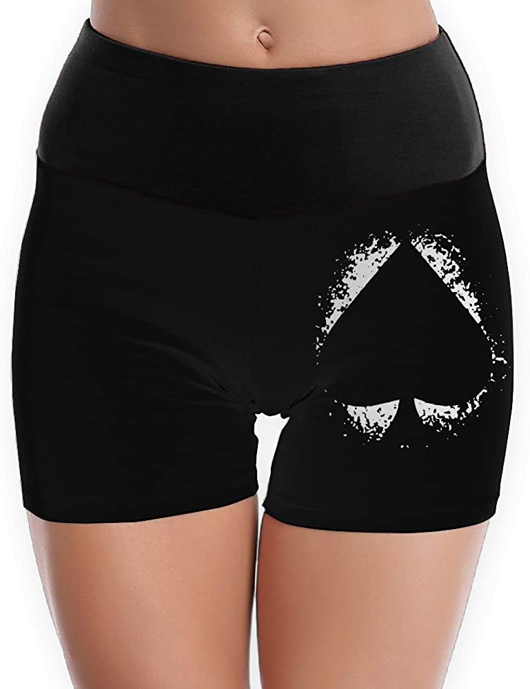 Spades Ace Splashing Womens Fold Over Yoga Shorts Dance Athletic Sport Short Legging