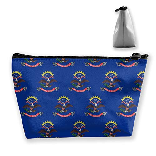 Suining North Dakota Flag Trapezoidal Storage Lightweight Makeup Bag Handbag Package Zipper Travel Bag