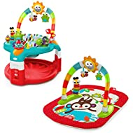 Bright Starts 2-in-1 Silly Sunburst Activity Gym and Saucer, Red