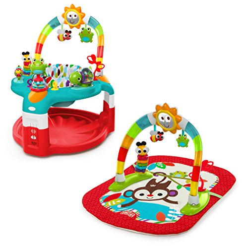 Bright Starts 2-in-1 Silly Sunburst Activity Gym and Saucer, Red (Bright Starts Bounce Bounce Baby Activity Station)