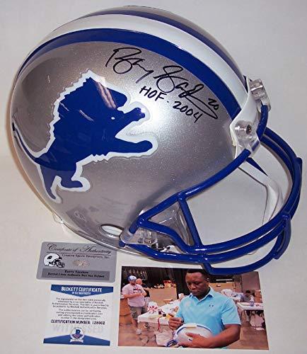 Barry Sanders - Autographed Official Full Size Riddell Authentic Proline Football Helmet - Detroit Lions - BAS Beckett
