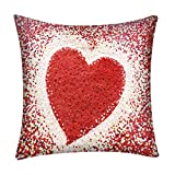 KESEELY Cupid Hear Shape Rose Print Pillow Case Polyester Sofa Car Cushion Cover for Vanlentins Day Decor