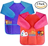 Amaza 2Pcs Kids Art Aprons, Waterproof Children's Artist Painting Smocks with Long Sleeve 3 Pockets for Age 2-8 Years (Blue & Red)