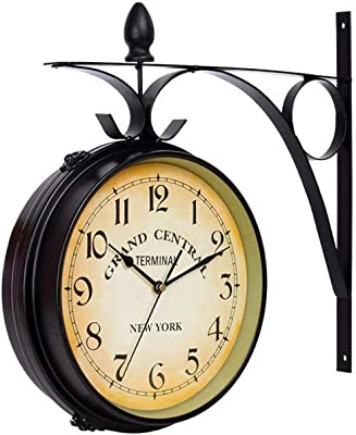 grte Wall Clock European Retro Mute in Wrought Iron Retro Wall Clock Face Double Duplex at