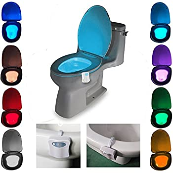 efuntuck Toilet Night Light, LED Auto Motion Sensor Activated, 2 Modes with 8 Colors Changing - Fits Any Toilet, 1-Pack