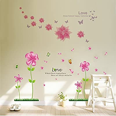 B.GTAGO Lovely Pink Petal Flowers & Butterflies Wallpaper for Living Room Bedroom, Removable Home Wall Decals/Wall Stickers & Murals/Wall Décor/Wallpops, Decorative Painting Supplies