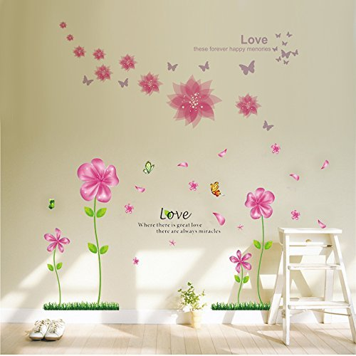 B.GTAGO Lovely Pink Petal Flowers U0026 Butterflies Wallpaper For Living Room  Bedroom, Removable Home Wall Decals/Wall Stickers U0026 Murals/Wall  Décor/Wallpops, ...