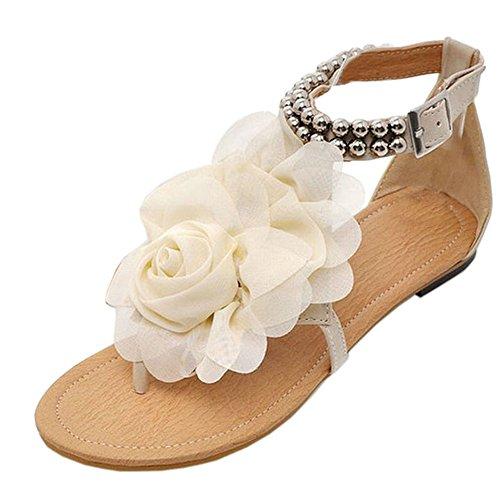 TAOFFEN Women Flower Bead Ankle Strap Bohemian Flat Thong Sandal Shoes Beige p63vAJ