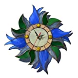 Cheap ZangerGlass Handmade Country 12 inch Blue Tulips Wall Clock, Decorative Stained Glass Floral Decor