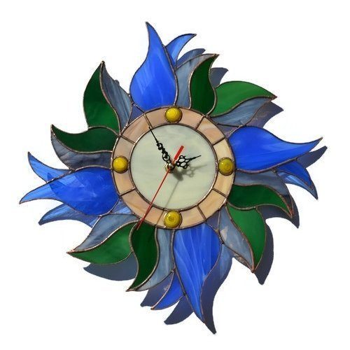 ZangerGlass Handmade Country  Blue Tulips Wall Clock,