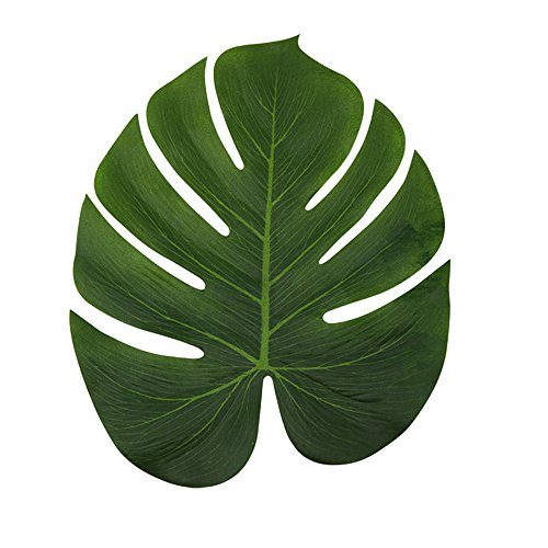 Plants Silk Jungle (LJDJ Tropical Leaves Palm - Set of 12 - Large 13.8 Inch Artificial Silk Fabric Monstera Decoration Leaf - Hawaiian Luau Safari Jungle Beach Theme Party Supplies Table Decor Accessories)