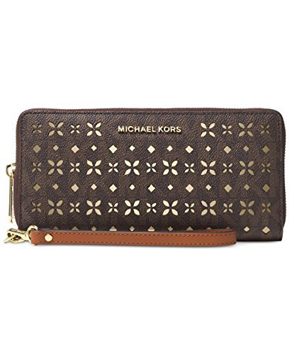 Michael Jet Set Travel Large Travel Continental Wallet Flora perforated Brown by Michael Kors