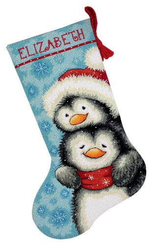 Dimensions Needlepoint Hugging Penguins Personalized Christmas Stocking Kit, Printed 12 Mesh Canvas, 16'' ()
