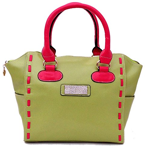 16 Nicki Gorgeous Pop Culture Leather Tote (green) Bonus Leather Wallet H700