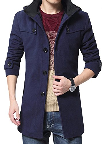 Liveinu Men's Winter Classic Trench Jacket Warm Wool Blen...