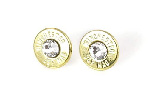 Classy, Dainty Winchester .357 Mag BRASS Bullet Head Stud Earrings with Swarovski Crystals