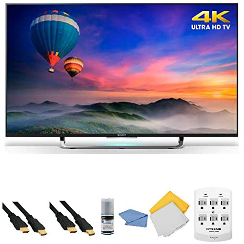 Sony XBR-49X830C - 49-Inch 4K Ultra HD Smart Android LED HDTV + Hookup Kit - Includes TV, HDMI Cable 6', 6 Outlet Wall Tap Surge Protector with Dual 2.1A USB Ports, Cleaning Cloth and Cleaning Kit review