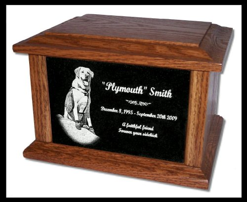 Etch Urn (Pet Cremation Memorial Urn by Eric @ StoneArtUSA / Custom Personalized Engraved Granite Oak Wood Photo Marker Dog Cat Pet Ashes -- Large for Pets up to 130 Lbs.)