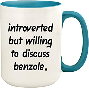 Introverted But Willing To Discuss Benzole - 15oz Ceramic White Coffee Mug Cup, Light Blue