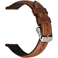 EACHE 18mm Genuine Leather Watch Band Light Brown Oil-Tanned Natural Crack Leather Wrist Straps with Silver Buckle