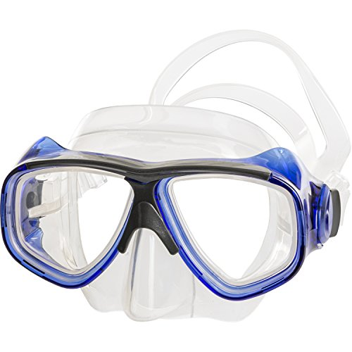 IST M80 2 Lens Snorkel Diving Mask with Optional Prescription Lenses, Low Profile & Hypoallergenic Silicone Seal (Clear Blue, Nearsighted -7.5)