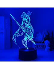 Zhongkaihua 3D Anime Lamp, Genshin Impact Xiao Acryl voor Kids Kamer Decor Tafellamp Slaapkamer Led Warm Nachtlampje Beste Verjaardag, 7 Kleurverandering Decor Lamp met Afstandsbediening