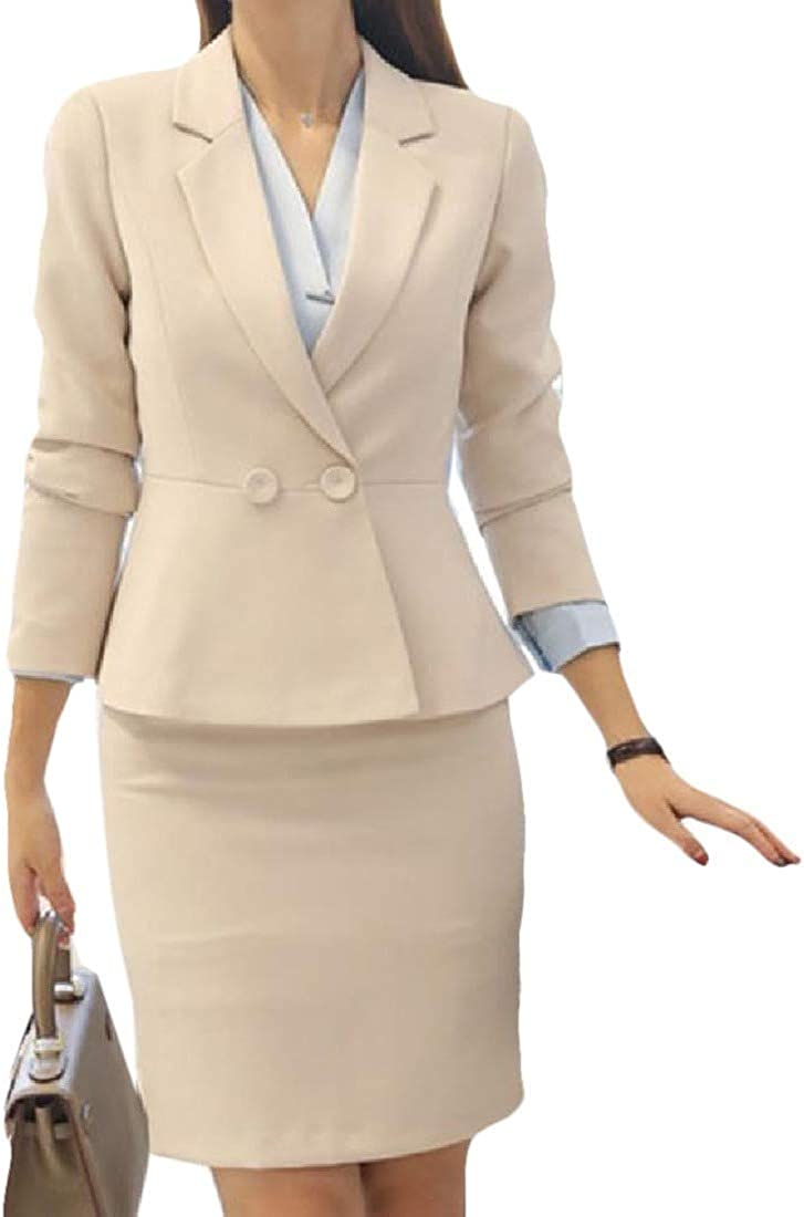 Zimaes-Women High Waist Office Blazer Notch Lapel Slimming Skirt Suit Set