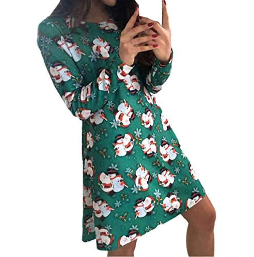 [Christmas Dress Mallcat Women Christmas Snowman Swing Dress (L, Green)] (Pillowcase Dress Costume)