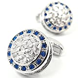 LBFEEL Blue Crystal Celtic Weave Cufflinks for Men with a Gift Box