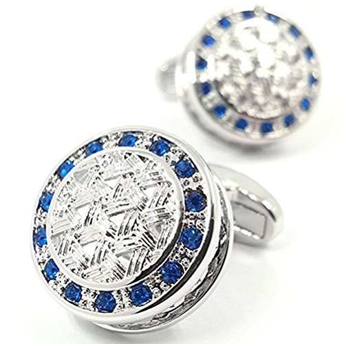 Cufflinks Crystal Round (LBFEEL Blue Crystal Celtic Woven Mesh Cufflinks for Men with a Gift Box)