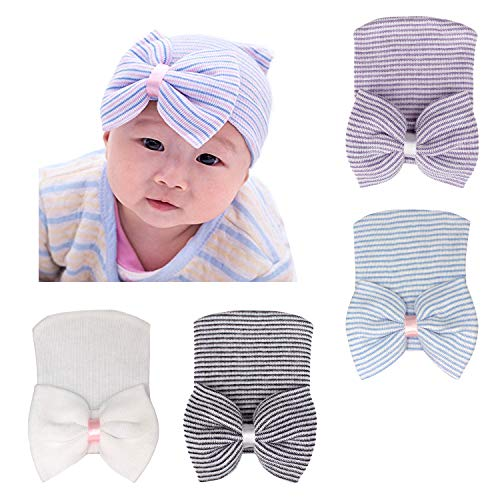 - DRESHOW BQUBO Newborn Hospital Hat Infant Baby Hat Cap Big Bow Nursery Beanie 4 Pack