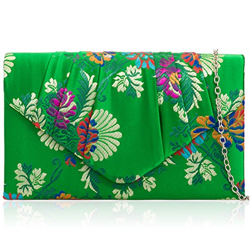 Ladies Women Ball Bag Ruched Xardi Strap Bridesmaid Wedding Floral Prom Evening Chain Clutch Satin Embroidery Green Bridal With London Party PfqOY