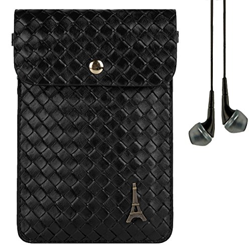 Black Paris Braided Leather Handbag Case for LG Flex 2 / LG G3 / LG G Vista / LG G3 Vigor + VanGoddy Headphones (Reflex Pro Clutch)