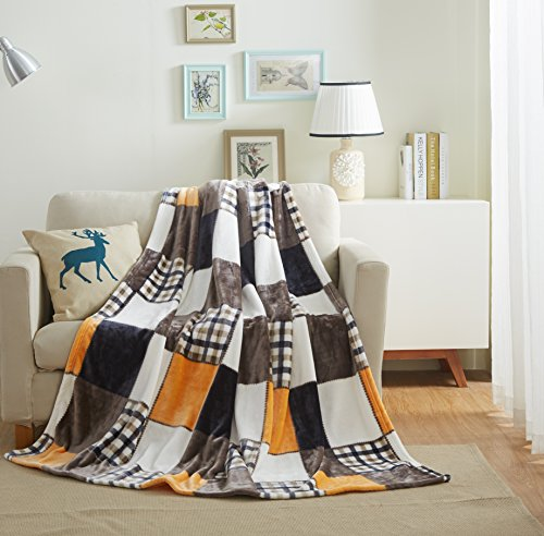 Tache 50x60 Fall Farmhouse Super Soft Plaid Patchwork Throw Blanket