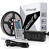 LEDMO 5M SMD 5050 RGB LED Strip Kit, 300leds DC12V Non-waterproof LED Tape Lights, Pack of 16.4ft/5M Ribbon Light + 44Key IR RGB Remote Controller + 12V 5A Power Supply