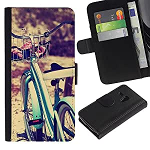 iBinBang / Flip Funda de Cuero Case Cover - Viñeta Hipster Bike Sun - Samsung Galaxy S3 MINI NOT REGULAR! I8190 I8190N