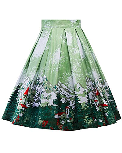 Femme Rtro Jupe Imprime Jupe A-Line Plisss Patineuse Style Vintage Floral Jupe As Picture 11