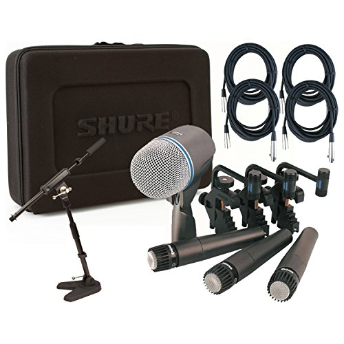 Shure DMK57-52 Drum Mic Kit w/(3) SM57 (1) Beta 52 (4) 20' XLR Cables, 1 Mini Boom, 3 Clips, and Case