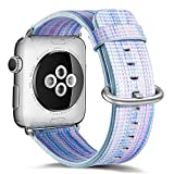 Compatible Apple Watch Band 38mm 40mm,Pierre Case Genuine Leather Strap Rainbow Replacement Bands with Stainless Metal Clasp Compatible iWatch Series 4 Series 3&2& 1 Edition Women Men Girl (K-Blue)