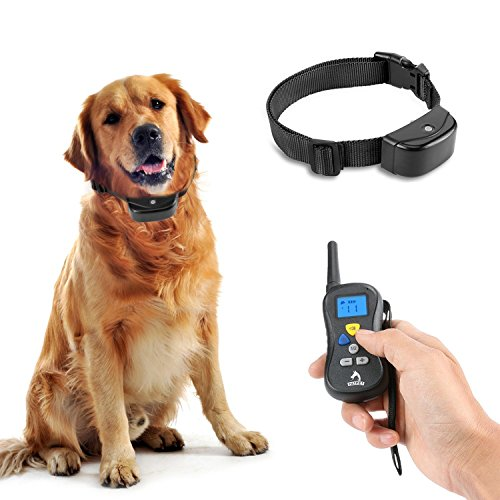 Patpet-Dog-Training-Collar-Remote-Controlled-Shock-for-Dogs-Professional-User-friendly-Anti-Bark-330yd-1-Blue-1-Black-collar-Neck-Size-7-27