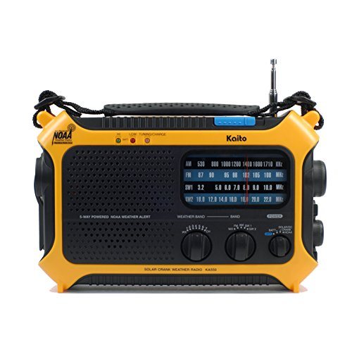 Kaito KA550 5-Way Powered AM/FM Shortwave NOAA Weather Emergency Radio with PEAS (Public Emergency Alert System) (Yellow)