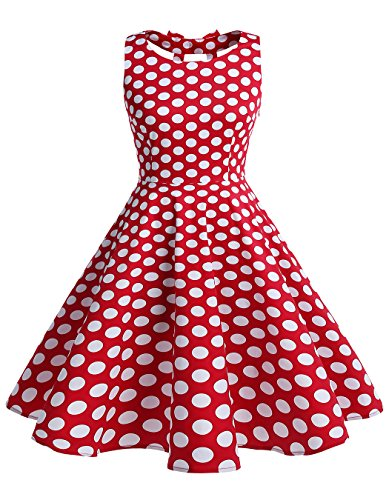1950s Costumes Ebay (BeryLove Women's Vintage 50s Polka Dot Bowknot Retro Swing Cocktail Party Dress RedWhiteDot Size XL)